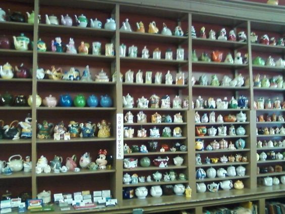 Teapot collection at the bailey cafe in bailey nc