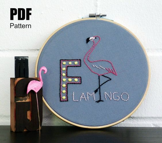 Flamingo embroidery pattern with marquee letter.