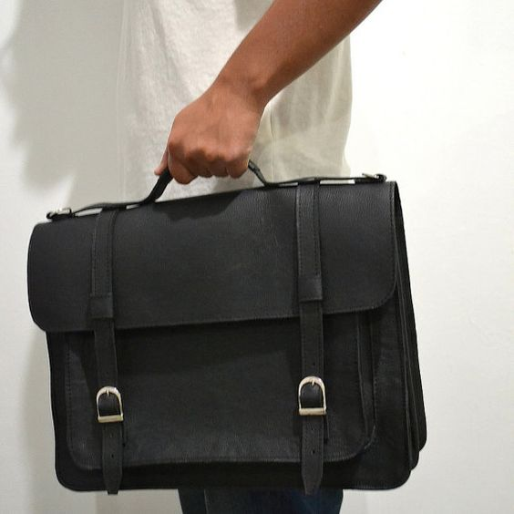 Briefcase cowhide leather satchel Handmade to by goldenponies, $120.00