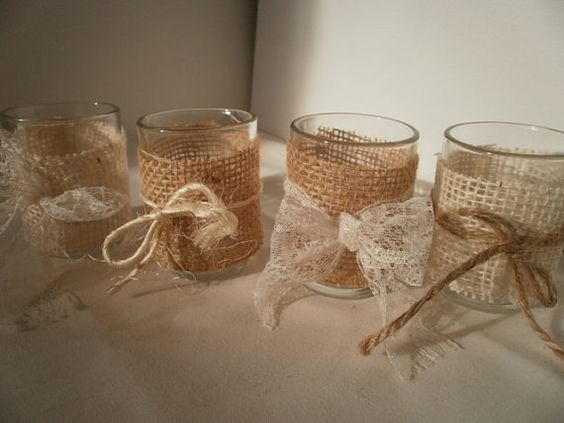 Votive candle holders with a burlap wrap rustic wedding for Bougeoir shabby chic