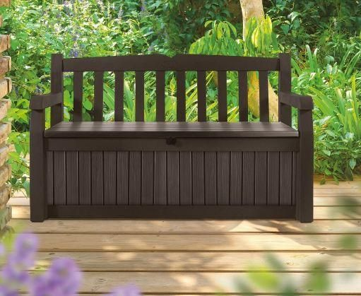 Brown Resin Outdoor Patio Garden Bench With Storage Box Garden