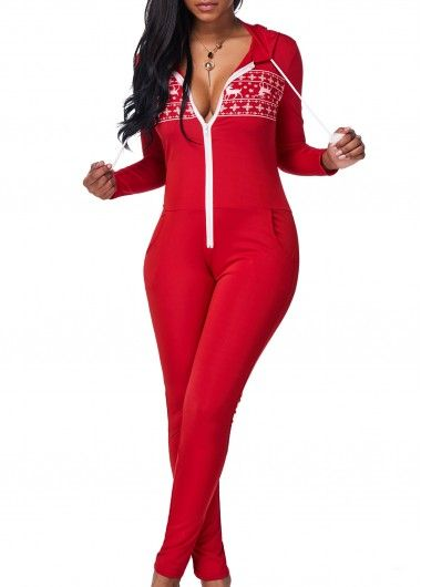 Long Sleeve Zipper Closure Red Jumpsuit on sale only US$25.53 now ...