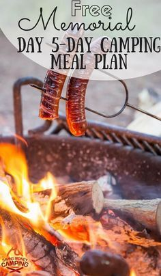 Going camping over Memorial Day Weekend? Grab this FREE camping meal plan that has 5 days of meals, a prep checklist + grocery shopping list! - Saving Money Camping http://www.savingmoneycamping.com/memorial-day-camping-meal-plan-5-days/