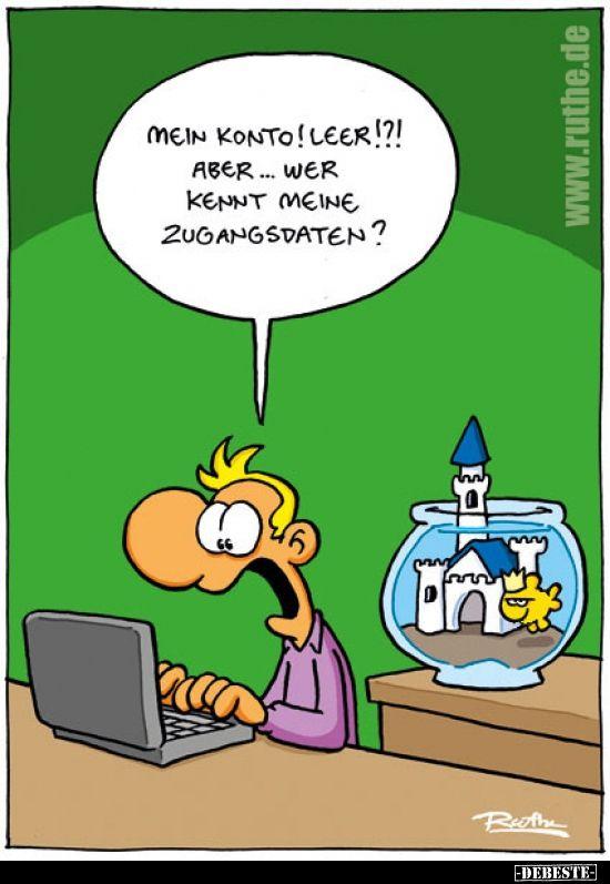 Mein Konto Leer In 2020 Lustige Cartoons Fischen Humor Lustige Wortspiele