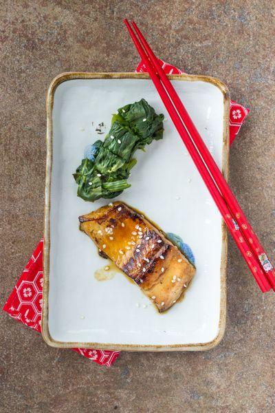 saumon teriyaki et épinards / Teriyaki grilled salmon