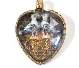 Stuart Crystal Heart Pendant Doves - The Three Graces