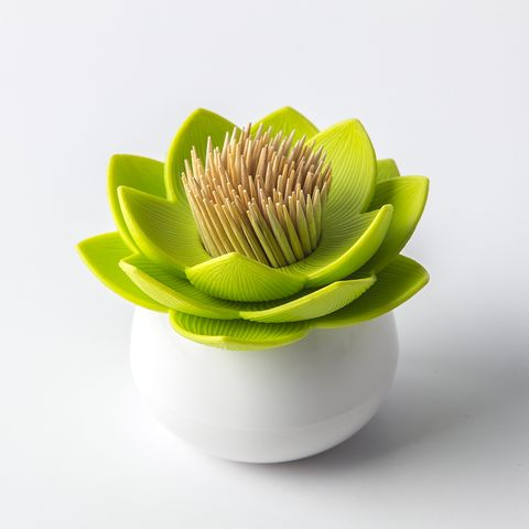 LOTUS TOOTHPICK HOLDER (WHITE/GREEN) - This Lotus Toothpick Holder is a chic way to keep toothpicks close at hand, whether at your cubicle or in your kitchen. Be sure to check out our other available colors as well! Comes in beautifully designed and fun 100% recycled paper packaging printed with soy ink. www.cubiclelife.com