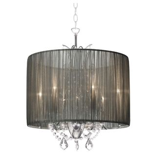 Alluring 3-light Chrome Crystal with Silver Taupe Shade Chandelier overstock $254