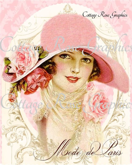 Mode de Paris Pink hat Paris French Fashion by CottageRoseGraphics