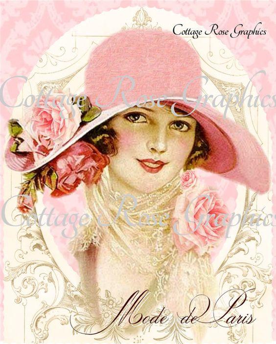 Mode de Paris Pink hat Paris French Fashion by CottageRoseGraphics