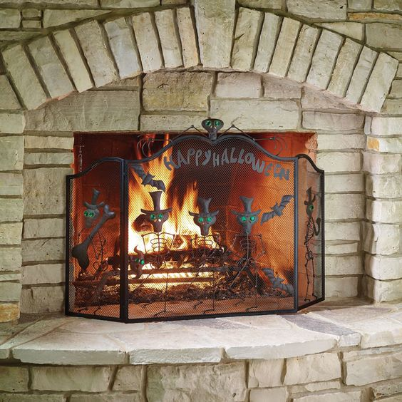 Fireplace Halloween Decorations: The Halloween Fireplace Screen - Hammacher Schlemmer