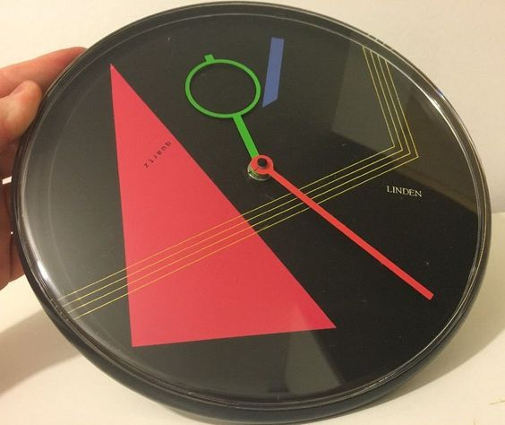 Linden Wall Clock, West Germany Totally 80s Neon Postmodernist by pnpvintagegeneral on Etsy