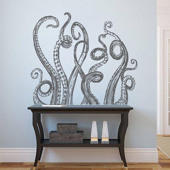 kik1225 Wall Decal Sticker octopus tentacles bathroom living room by ArtWallStickers on Etsy https://www.etsy.com/listing/279095246/kik1225-wall-decal-sticker-octopus