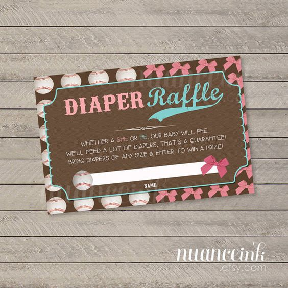 Baseball or Bows Gender Reveal Baby Shower Diaper by NuanceInk