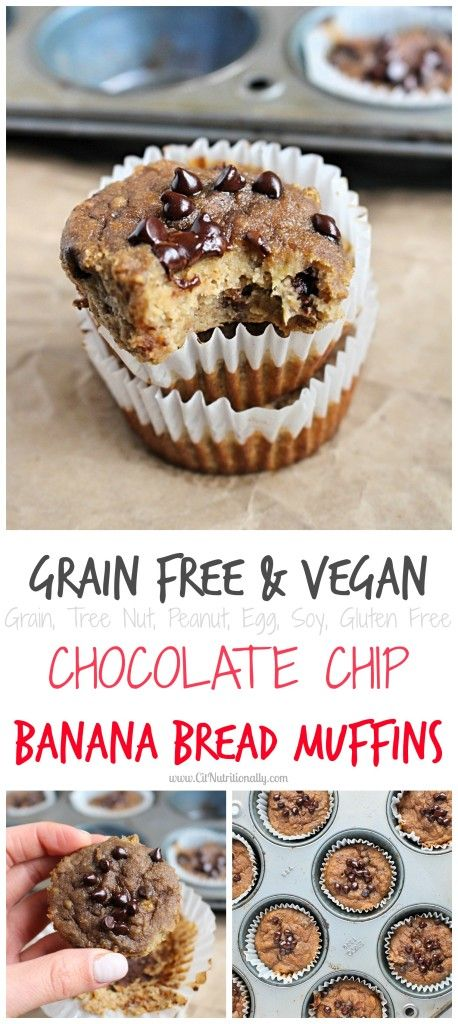 Full of flavor in every bite, these Nut Free, Grain Free, Vegan Chocolate Chip Banana Bread Muffins are the perfect addition to your brunch table, as a healthier after school snack, or even for a pre-workout burst of energy! Free of the top 8 allergens. {Vegan. Dairy free. Egg free. Soy free. Nut free. Gluten free. Grain free.} |Grain Free Vegan Chocolate Chip Banana Bread Muffins {Nut Free}| C it Nutritionally