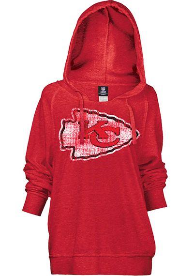 Kansas City Chiefs Womens Hooded Sweatshirt - Red Chiefs Brushed ...