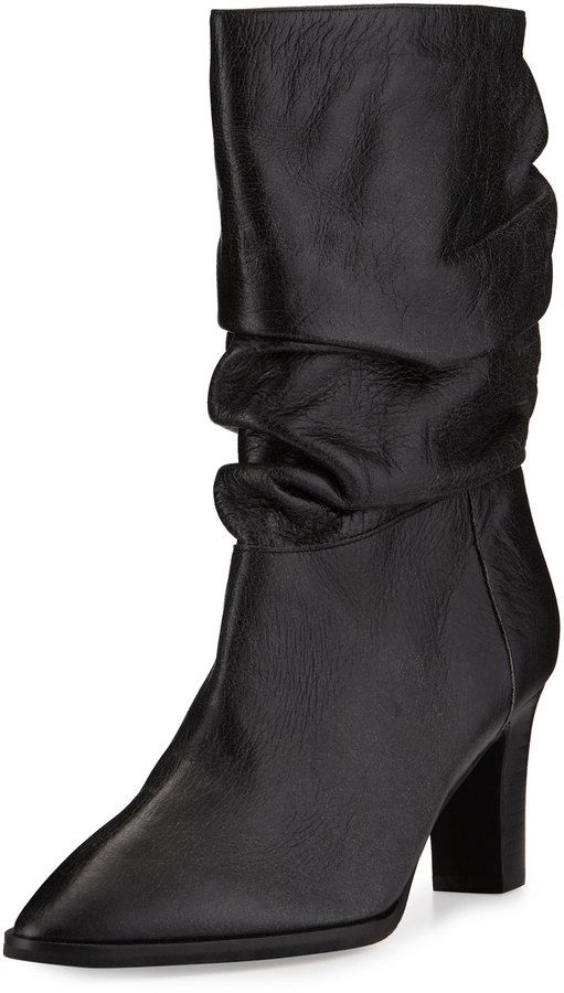 Adrianna Papell Noelle Ruched Mid-Calf Boot, Black