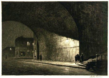 Under an arch in Astoria at midnight, 1930, by Martin Lewis.    Martin Lewis