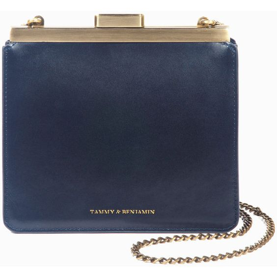 Jeanne 18 - Midnight Blue Clutch (385 CAD) ❤ liked on Polyvore featuring bags, handbags, clutches, chain strap shoulder bag, shoulder handbags, shoulder bag purse, chain handbags and chain handle handbags