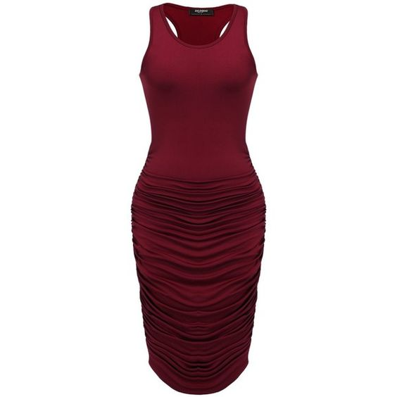 Zeagoo Women's Summer Sexy Stretch Ruched Sundress Fold Bodycon Midi... (€18) ❤ liked on Polyvore featuring dresses, bodycon tank dress, purple dress, sexy summer dresses, summer sun dresses and sun dress