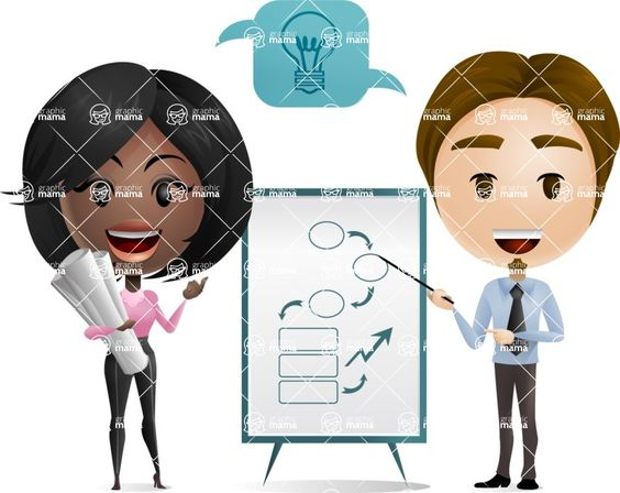 Creatives making a presentation. Cartoon character illustration. #business #vector