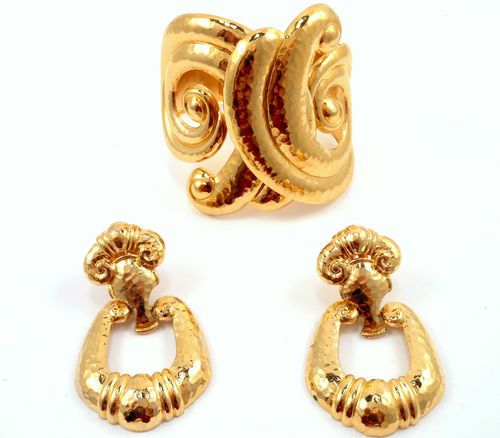 Jose Barrera Avon Gold Couture Runway Hinged Bangle Bracelet Earring Set Barerra | eBay Sold for $ 107