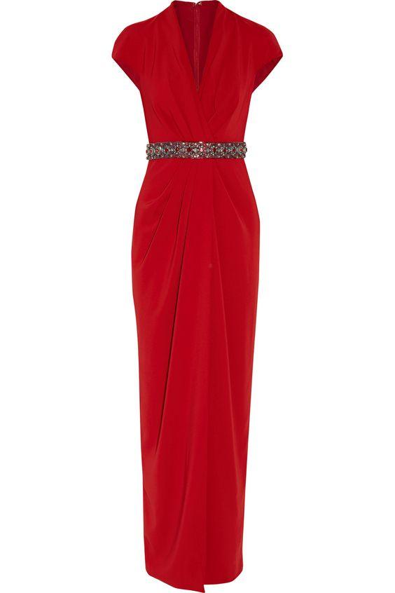 BADGLEY MISCHKA Draped Embellished Crepe Gown. #badgleymischka #cloth #gown