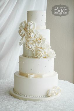tone-on-tone ivory and white wedding cake; such a sweet design!