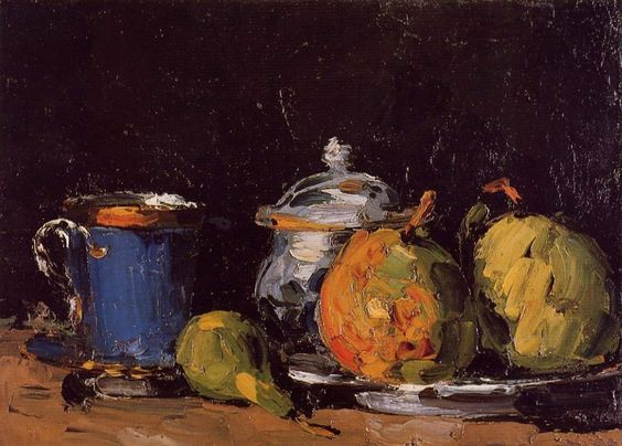Cezanne still life titled (rather literally) Sugar Bowl, Pears and Blue Cup