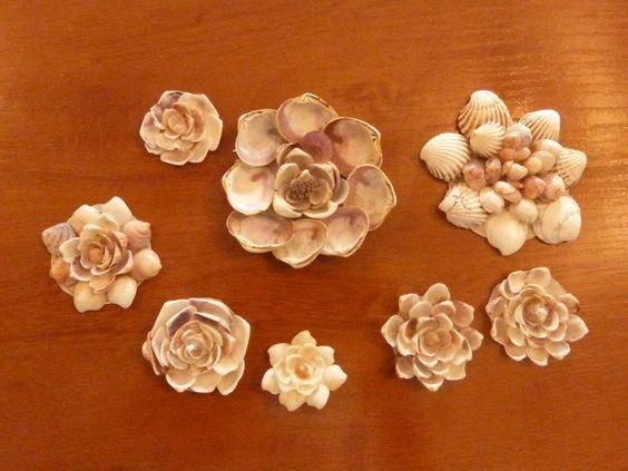 Flores a partir de caracoles y conchas de mar conchas - Como hacer conchas finas ...