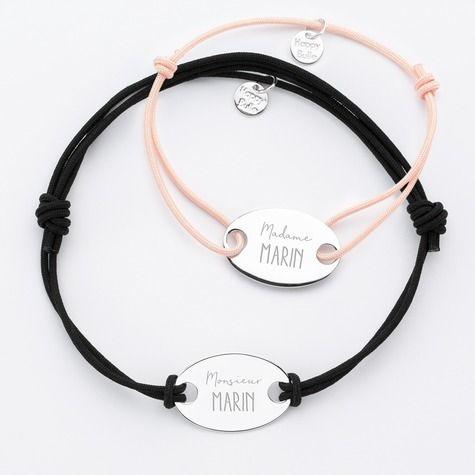bracelet couple amoureux pour 2 gravure