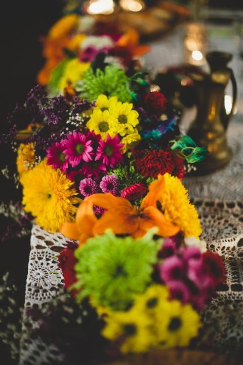 Bright Bohemian Florals / Rhian & Jake's Chic Bohemian Wedding on The LANE / Brooke Adams Photography