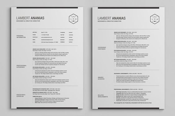 pages resume cv pack page