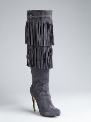 cadet blue suede fringe tall boots Charles David - So want!