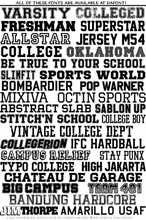Varsity/collegiate/university fonts: | Design | Collegiate