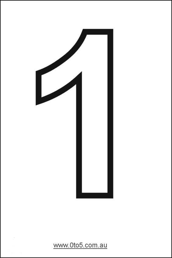Number - one printable template | NÚMERO 1 GRAFÍA Y ...