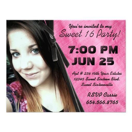 Mod Angle Pink Background Photo Sweet 16 Custom Invites