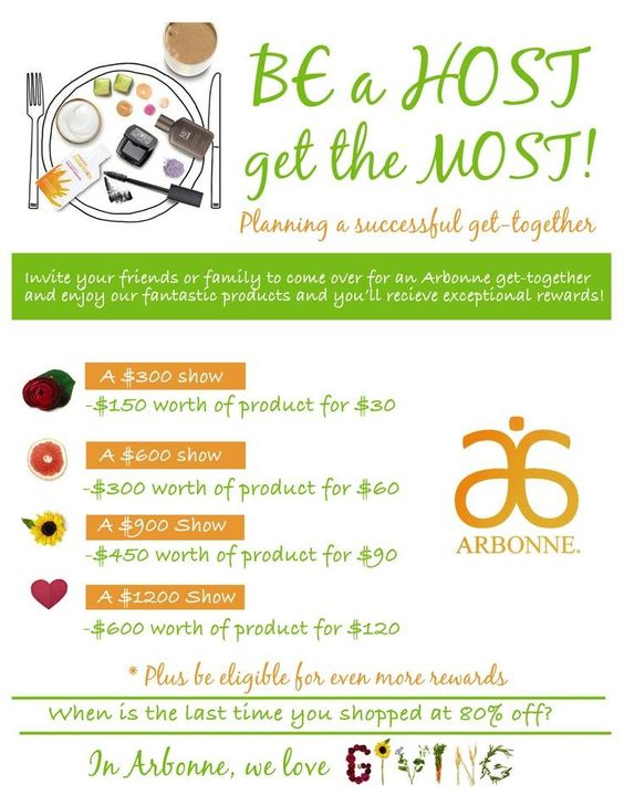 Be a Host get the Most! For more information or would like to book a party message me, or go to https://www.facebook.com/pages/Shelleys-Arbonne-Boutique/405088189623289Arbonne ID# 116343611