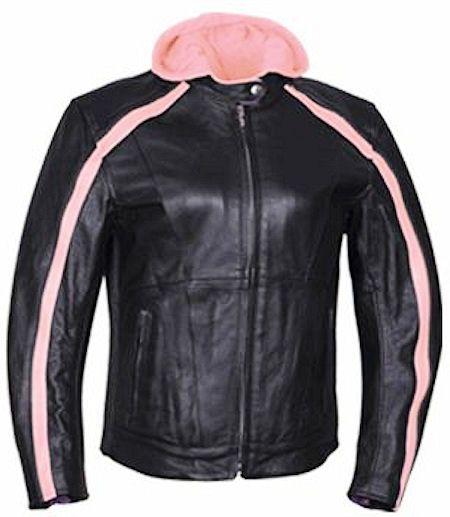 Callisto Heart Black/Pink Hooded Womens Leather Motorcycle Jacket
