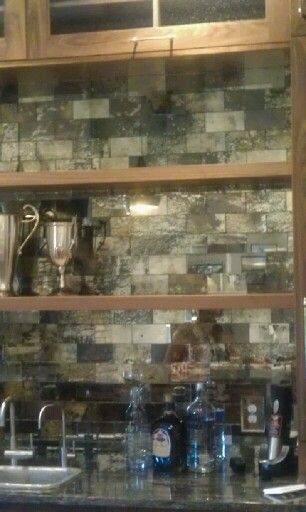 My Handmade Distressed Mirror Subway Tiles In A Home S Bar
