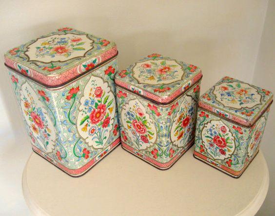 Daher Holland Vintage Canister Set Floral