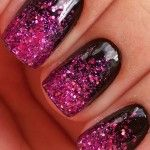 black and pink nails with glitter
