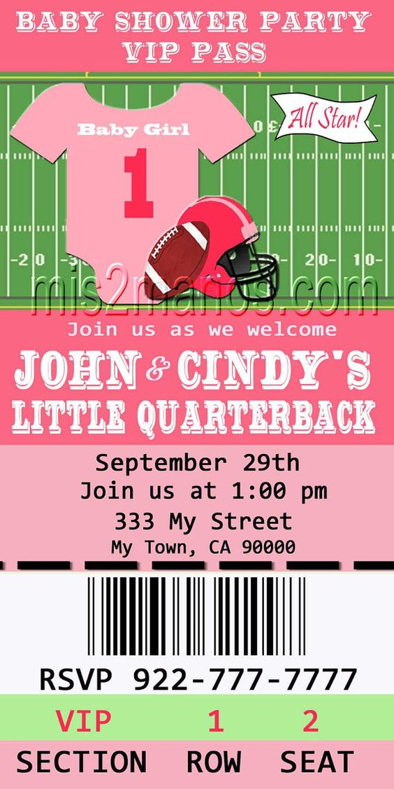 Football Girl Baby Shower Printable Ticket By M2MPartyDesigns