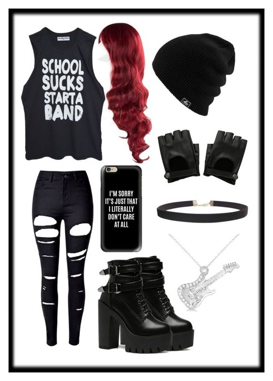 """""""School sucks, start a band?"""" by mirandabakker ❤ liked on Polyvore featuring High Heels Suicide, Casetify, WithChic, Allurez and Humble Chic"""
