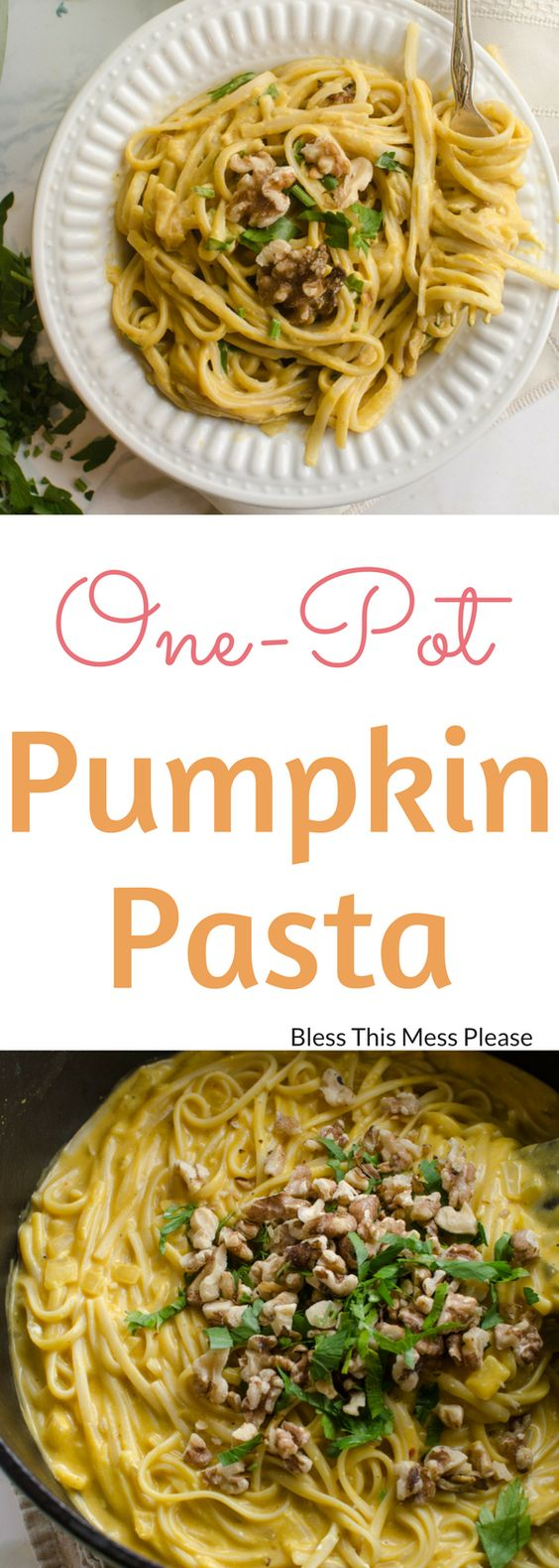 One Pot Creamy Pumpkin Pasta ~ One pot creamy pumpkin pasta with toasted walnuts and parsley is a simple meatless meal the whole family will love. Plus, it's done in 20 minutes!