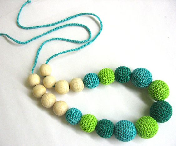 Nursing necklace  crochet beads and wood teething by KikaCrafts, $15.00
