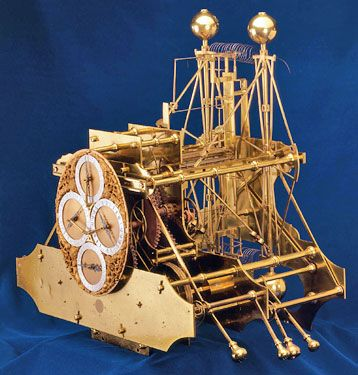 "John Harrison's first ""sea clock"", called H1, was tested on a return voyage to Portugal in 1736. It proved to be the most accurate clock ever to go to sea, but didn't quite manage to collect the £20,000 prize offered by the British government for solving the longitude problem.   H1 had many novel features. A system of swinging balances and springs prevented the ship's motion affecting its workings, and it never needed lubricating.:"