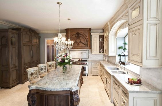 love the island and chairs luxury two toned kitchen white cream brown