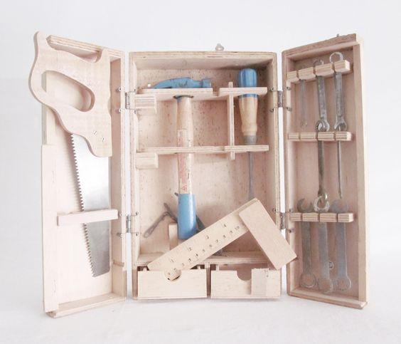 Vintage Toy Child Tool Box Case Boys Girls Wooden Toy Toolbox. $55.00, via Etsy.