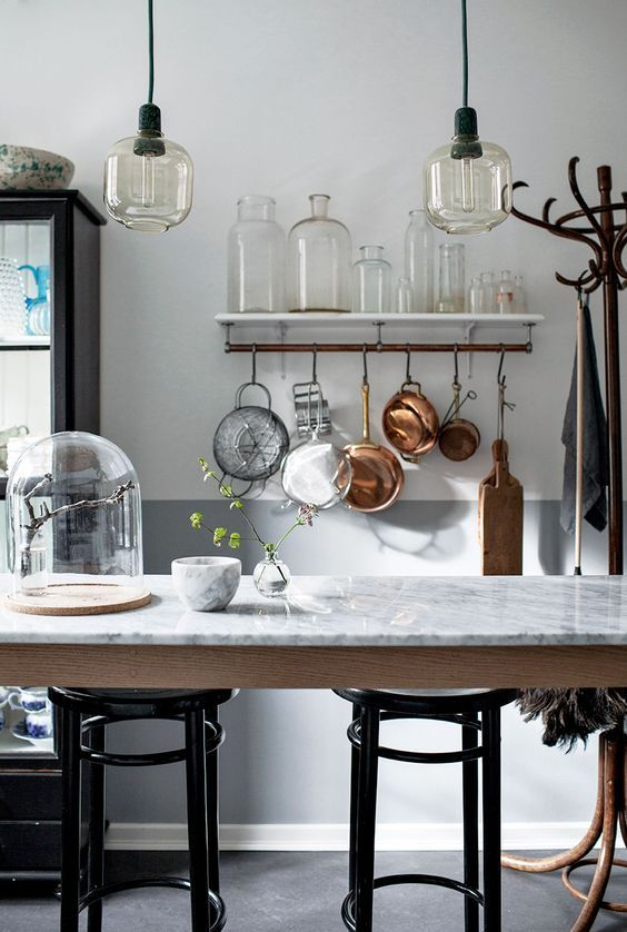 Marble Kitchen Table, Copper Saucepans and Industrial Lighting | Kitchen